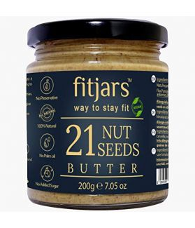 FITJARS 21 Nuts and Seeds Butter, 200 GM All Natural Stone Ground Butter.