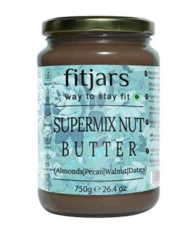 FITJARS Stone Ground Keto Vegan All Natural Gourmet Super Mix Nut Butter (Almonds,Pecans,Walnuts,medjool Dates , 750 GE