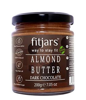 FITJARS All Natural Almond Butter with Dark Chocolate, 200 gm (Almond Butter 80%, Dark Chocolate 20% Stone Ground Vegan Diet Butter)