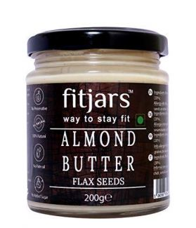 FITJARS All Natural Almond Butter (Badam) with Flax Seeds, Vegan Butters -200 gm