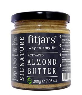 FITJARS Activated All Natural Almond Butter /Badam Unsweetned & Unsalted 200 gm Stone Ground Vegan Diet Butters).