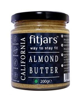 FITJARS Premium California Almond Butter(Badam) Smooth Unsalted , 200 GM All Natural Gourmet