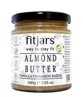 FITJARS Almond Butter With Vanilla Cinnamon Raisins-200 gm All Natural gourmet food