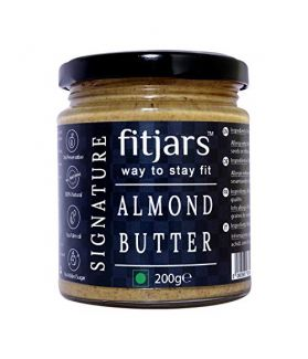 FITJARS All Natural Signature Almond Butter / Badam Smooth Unsalted & Unsweetened, 200 GM (All Natural Stone Crushed Vegan Butter)