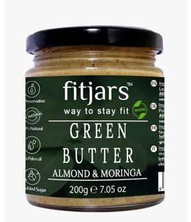 FITJARS Almond Butter with Moringa Butter, 200 gm All Natural Stone Ground Butter