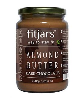 FITJARS Almond Butter With Dark Chocolate, 750 GE (Almond Butter 80%, Dark Chocolate 20% All Natural Stone Ground Vegan Diet Butter)