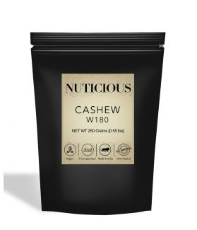 All Natural W180 Whole Cashew Nuts (Kaju) - 250Gm