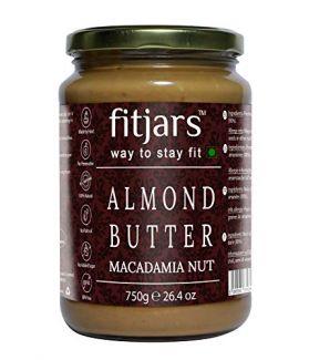 FITJARS Stone Ground Keto Vegan All Natural Gourmet Almond(Badam)& Macadamia Nut Butter(Badam|Macadamia Nuts) , 750 GE