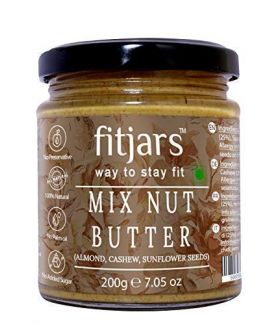 FITJARS Stone Crushed Vegan Butters Mix Nut Butter ( Almonds| Cashews|Sunflower Seeds) , 200 gm All Natural