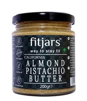 FITJARS California Badam Almond Butter With Pistachio Butter, All Natural Stone Ground keto Diet Vegan Butters-200 gm