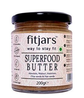 FITJARS All Natural Superfood Butter (Almonds, Walnuts, Hazelnuts, Chia Seeds, Flax Seeds), Stone Ground Vegan Diet Butters-200 gm