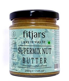 FITJARS Super Mix Nut Butter (Almonds, Pecans, Walnuts, Medjoul Dates), (All Natural Stone Ground Keto Diet Vegan Butter)-200 gm